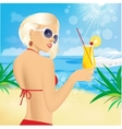 young women with coctails on the beach vector image vector image