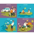 Family with kids concept flat icons set of vector image