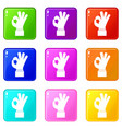 ok gesture icons 9 set vector image
