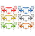 Chairs and coffee table in six colors vector image