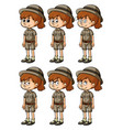 girl in safari outift with different emotions vector image