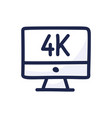 4k movie monitor simple outline color icon vector image vector image