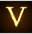 Alphabets V of gold glittering stars vector image vector image