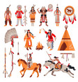 american indians decorative icons set vector image vector image