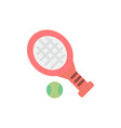 ball racket tennis sport flat color icon icon vector image