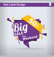 big sale label 50 percent offer discount big sale vector image