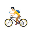 biker with smartphone and backpack people in vector image vector image