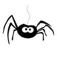 black silhouette of spider isolated white vector image