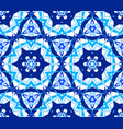 blue flower kaleidoscopic pattern vector image vector image