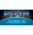 bokeh 2018 happy new year card with blue text vector image vector image