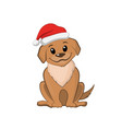 brown puppy in christmas hat cute dog vector image