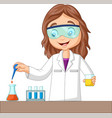cartoon girl doing chemical experiment vector image vector image