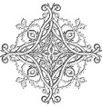 celtic style floral damask black and white vector image