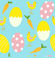 colorful easter eggs and chicken seamless pattern vector image