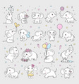 cute elephant wild animals in various poses vector image vector image