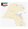 detailed road map kuwait with flag vector image vector image