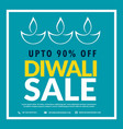 diwali sale banner with diya in blue background vector image