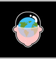 earth planet in head globe in transparent head vector image vector image