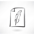 feather grunge icon vector image vector image