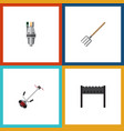 flat icon dacha set of hay fork pump barbecue vector image vector image