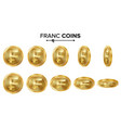 franc 3d gold coins set realistic vector image vector image