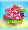fresh berry blend juice splash logo with apteitic vector image vector image