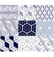geometric lines abstract seamless patterns set 3d vector image vector image