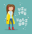 girl in a yellow winter coat vector image vector image