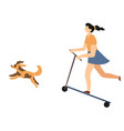 girl riding electric scooter with running dog vector image
