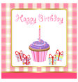 happy birthday cupcakes card vector image vector image