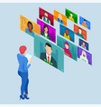 isometric video conference group corporate video vector image