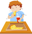 Man eating pizza and drinking soda vector image vector image