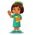nurse girl friendly welcoming pose vector image
