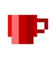 pixel cup of coffee tea cartoon retro game style vector image vector image