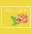 Postcard with imitation cross stitch bud of a
