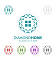 Real estate logo with diamond and home vector image
