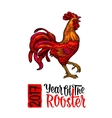 Red fiery rooster Vintage black engraving vector image vector image