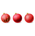 red shiny glitter christmas balls realistic vector image vector image