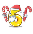 santa with candy number six isolated on the mascot vector image vector image