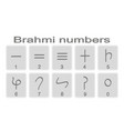 set of monochrome icons with brahmi numerals vector image vector image