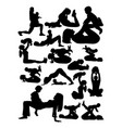 silhouette mother with badoing yoga vector image vector image