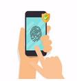 smart phone fingerprint security access flat vector image vector image