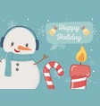 snowman candy cane candle happy holiday card vector image vector image