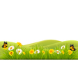 Spring background with grass flowers and vector image vector image