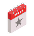 star grey calendar day icon isometric style vector image