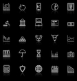 Stock market line icons with reflect on black vector image vector image