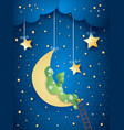 surreal landscape with moon and meadow vector image vector image