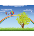 Tree on grass field vector image vector image