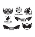 wing emblem set a winged black is a force vector image