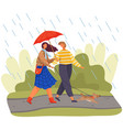 young couple with umbrella walks with little dog vector image vector image